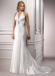 vintage a line halter satin wedding dress with court train sang