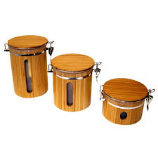 airtight kitchen canisters le chef airtight bamboo storage canisters set of 3 free