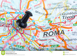 rome on a map rome on map pinned royalty free stock photos image 36702558