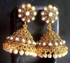 bridal jhumka earrings antique gold plated pearl setting indian bridal jhumka earrings 5