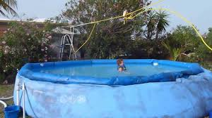 Zip Line For Backyard by Zipline To Pool Youtube