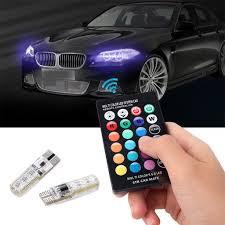 Led Car Lights Bulbs by 2pcs T10 5050 Rgb Remote Control Led Car Headlights Bulbs Car