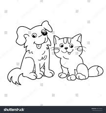 coloring page outline cartoon cat dog stock vector 447912562