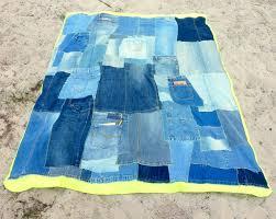 Denim Home Decor Denim Patchwork Quilt Lime Green Fleece Blanket Eco Friendly
