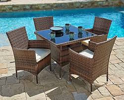 all weather dining table amazon com suncrown outdoor furniture all weather square wicker