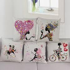 taie coussin canapé romantique amour fleur housse de coussin canapé chaise taille coton