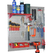 Pegboard Ideas by Wall Control 32 In X 32 In Shiny Metallic Galvanized Steel