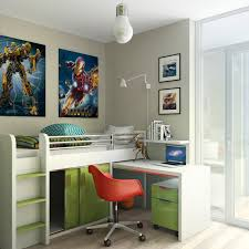 bedroom photo collage ideas with swing arm lamp and pendant