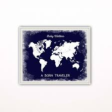 Personalized World Map by Navy Blue Nursery Art Print Personalized World Map Print Travel