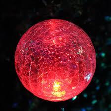 crackle glass globe solar stake lights set of twelve 12