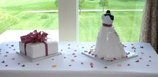 bridal shower dress cake and present cake with fall or autumn