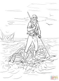 robinson crusoe on a raft after shipwrecked coloring page free