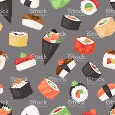 jeu de cuisine sushi rouleau de cuisine japonaise vecteur sushi sashimi ou nigiri et