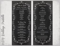 chalkboard wedding program wedding program template chalk board programs black