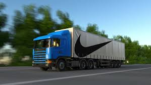 concept semi truck truck on the road highway transports logistics concept super