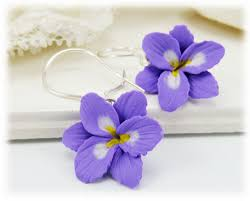 purple drop earrings purple freesia drop earrings purple freesia dangle earrings