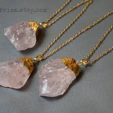gold rose quartz necklace images Blue sand stone triangle gemstone pendant from earthprism on etsy jpg