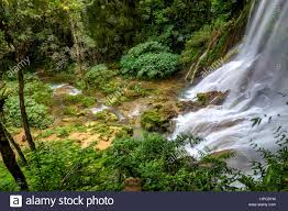 famous waterfalls the famous waterfalls of el nicho on cuba stock photo royalty