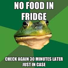 Fridge Meme - no food in fridge check again 30 minutes later just in case