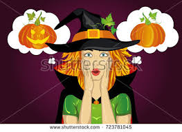 halloweengirl hat witch costume surprised wow stock vector