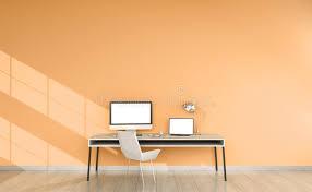 le de bureau orange intérieur de bureau orange moderne avec le rendu des dispositifs