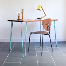 industrial hairpin leg desk powder blue hairpin leg reclaimed iroko desk or table elegant simple