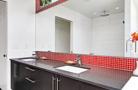 Kitchen Tiles Red Bright Red Glass Mosaic Tile Cherry Brio Modwalls Modern Tile