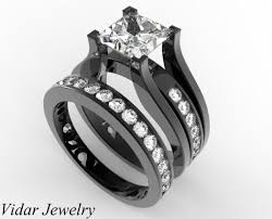 black diamond wedding sets princess cut diamond wedding ring set in black gold unique design