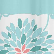 Kids Fabric Shower Curtain - turquoise and coral emma kids bathroom fabric bath shower curtain