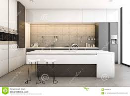 Loft Kitchen Design 3d Rendering Modern Wood And Loft Kitchen With Dining Bar Stock