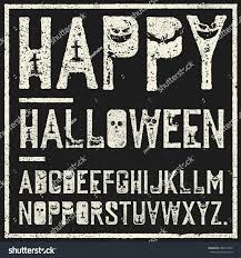happy halloween decorative alphabet grunge stamp stock vector
