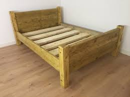 Solid Pine Bed Frame Chunky Rustic Solid Pine Bed Frame With Headboard Newco