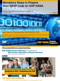 mandatory steps to adapt your abap code for sap hana database