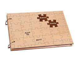 engraved wedding album personalized puzzle wooden cover engagement guest book custom