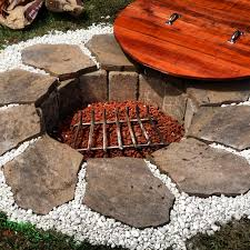 Lava Rock For Fire Pit by Homemade Fire Pit With Redwood Lid Built From Scratch Using