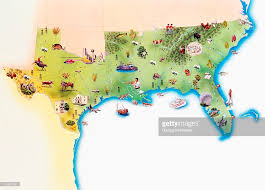 map of usa showing southern states map of southern united states of america with illustrations of