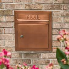 Whitehall Wall Mount Mailbox Recessed Copper Locking Mailbox Curb Appeal And Exterior