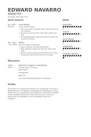 Server Resume Skills Examples Free by Head Waiter Resume Samples Visualcv Resume Samples Database