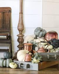 farmhouse fall entryway decor copper and navy blue pumpkins