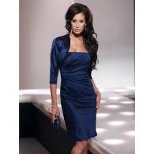 classic strapless knee length blue taffeta sheath column mother of