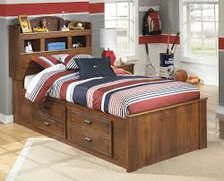 twin bed with drawers and bookcase headboard barchan medium brown twin collection including attractive bed with