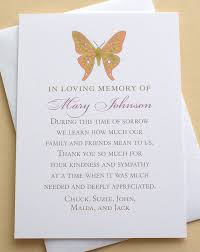 thank you for sympathy card butterfly thank you sympathy cards personalized flat cards