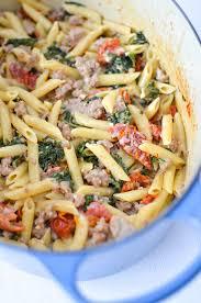 Pasta Sausage Creamy One Pan Pasta With Sausage Kale U0026 Sun Dried Tomatoes