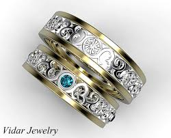 matching wedding bands his and hers his and two tone matching wedding band vidar jewelry