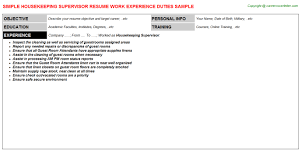 Housekeeping Supervisor Resume Sample by Housekeeping Supervisor Job Title Docs