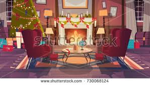 New Year Living Room Decorations by Living Room Decorated Christmas New Year Stock Vector 730068058
