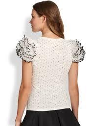polkadot top valentino rufflesleeve polkadot top in white lyst