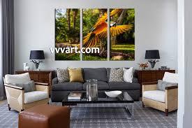 3 piece colorful parrot canvas art living room wall art 3 piece wall art wildlife multi panel art scenery