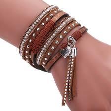 crystal buckle bracelet images Buy leather boho bracelet magnetic buckle jpg