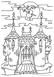 scary castle halloween color holiday coloring pages color